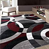 """Rugshop Contemporary Modern Circles Abstract Area Rug, 5'3"""" x 7'3"""", Red"""