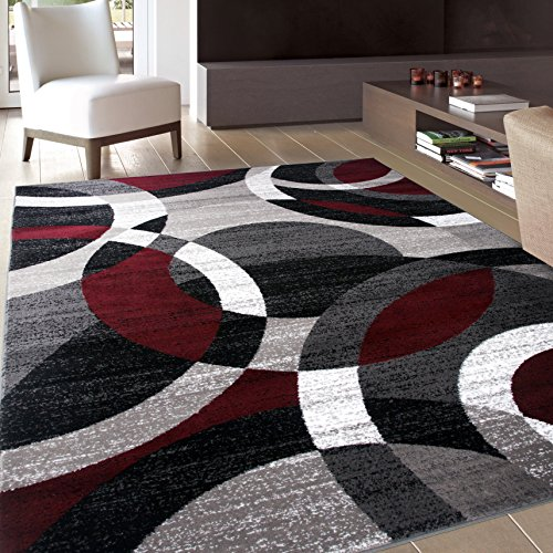 Rugshop Contemporary Modern Circles Abstract Area Rug, 5'3