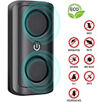 Dreamslink Ultrasonic Pest Repeller Plug in Mouse Deterrent Mouse Rat Repellent Upgrade 8W Ultra Sonic Speaker Indoor Pest Repeller for Rat Mouse Spider Fly Cockroach Mosquito Ants Black