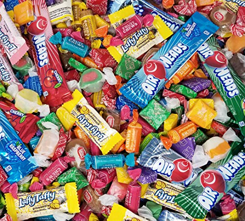 Assorted Taffy Candy Variety Party Mix, 3 Lbs Bulk Pack - Tootsie Roll Fruit Chews, Pineapple and Guava Flavored Laffy Taffy, Salt Water Taffies, Now Later Mini Squares, Goetze's, Airheads