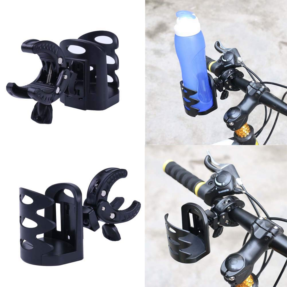 HOUTBY Fully Adjustable 360 Degree Stroller Cup Holder Universal Multifunctional Drink Cup Holder for Baby Stroller,Wheelchair, Bicycle,Pushchair,Motorcycle, Black