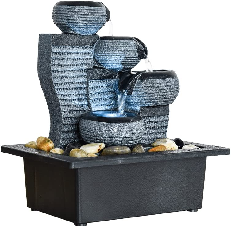 """BBabe Desktop Waterfall Fountain Decor LED Illuminated Indoor Portable Waterfall Tabletop Fountains 10 1/5"""" High: Home & Kitchen"""