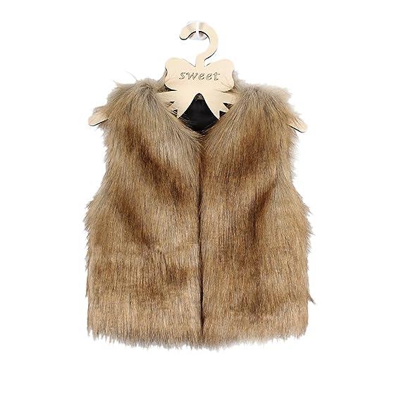 VLUNT Chaleco de Piel para Niños Fur Vest Niña Chaqueta Piel Chica Abrigo Sin Mangas Pelaje de Mapache Chaleco: Amazon.es: Ropa y accesorios