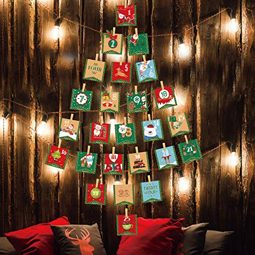 [해외]LUCKKYY 2019 Advent 캘린더 크리스마스 장식 24 일 걸 수 있는 고급 달력 화환 캔디 선물 가방 DIY 크리스마스 카운트다운 크리스마스 장식 벽 홈 오피스 / LUCKKYY 2019 Advent Calendar Christmas Decorations, 24 Days Hanging Advent Calendars...