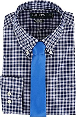 LAUREN Ralph Lauren Mens Classic Fit Non Iron Poplin Plaid Button Down Collar Dress Shirt