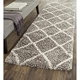 Safavieh Hudson Shag Collection SGH281B Grey and Ivory Runner, 2 feet 3 inches by 8 feet (2\'3\