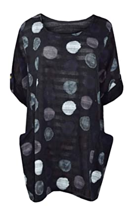 fa6a4b863a5a CELEB LOOK Italian Ladies Women Celebmodelook Lagenlook Multicolour Polka  Dots Cotton Tunic Top Plus Size Dress: Amazon.co.uk: Clothing