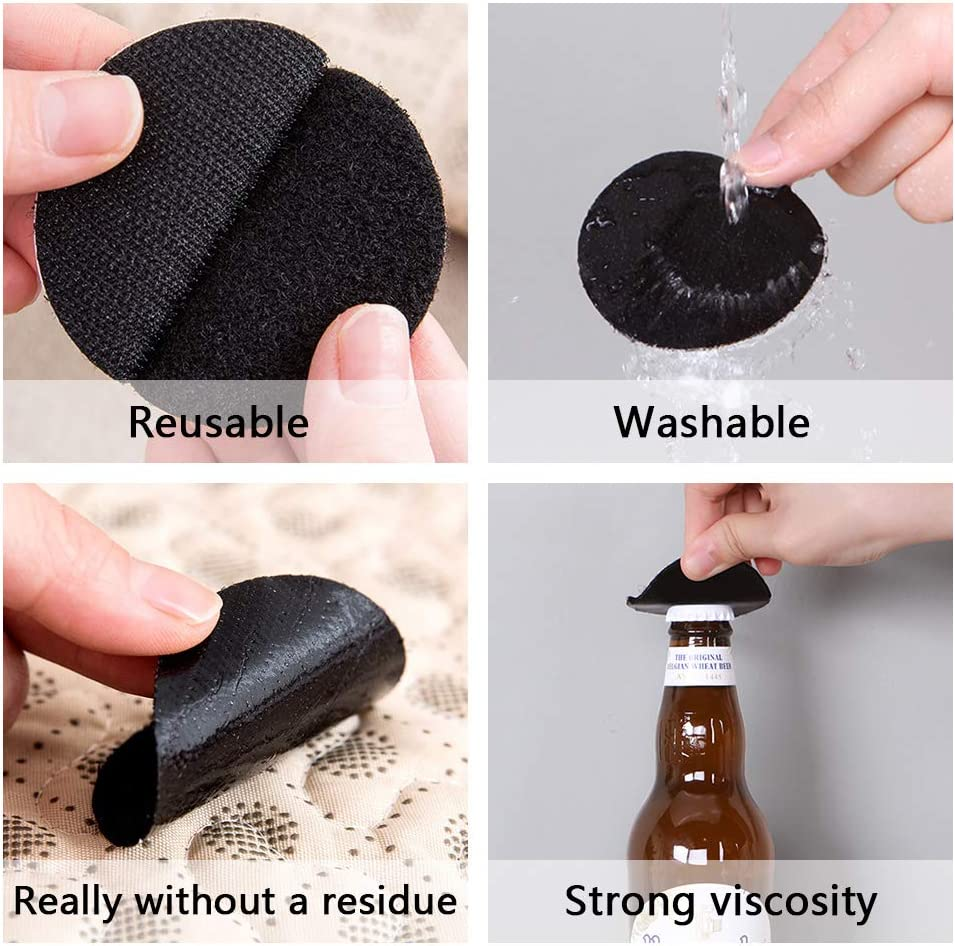 WIFUN 20 Pairs Sticky Adhesive Pads for Walls Black Double Sided Sticky Pads Round Heavy Duty Adhesive Foam Pads Mounting Pads