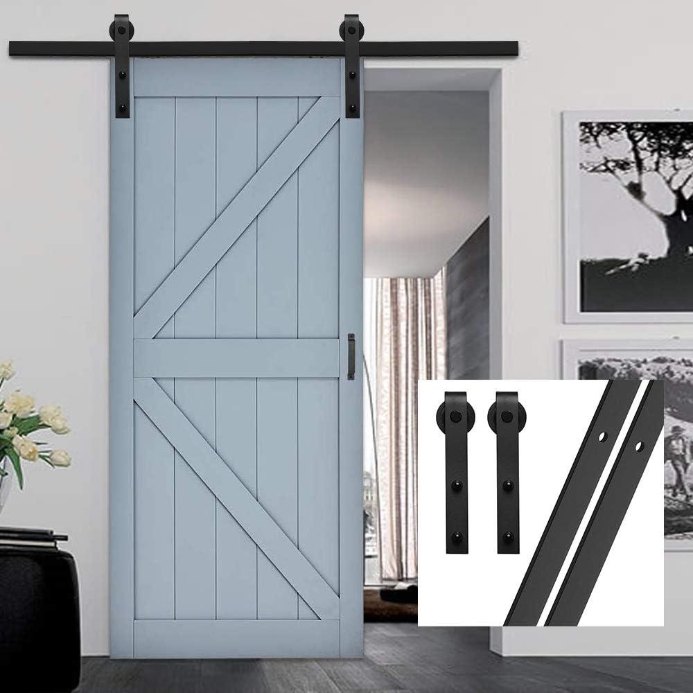 gifsin 4FT//122cm Kit de Quincaillerie pour Porte de Grange Coulissante Une Porte Suspendue en Bois,Noirs J-Form