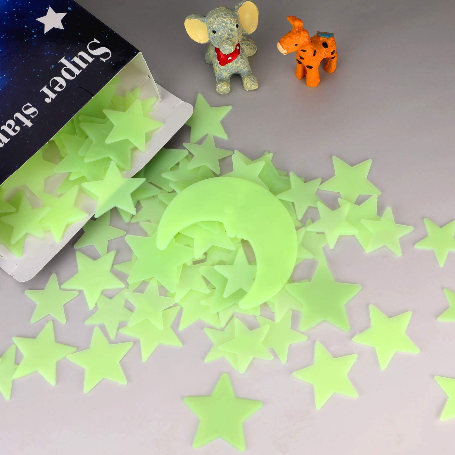 200 Pcs Bright Glow in The Dark Stars 3 Size Stars Bonus Moon Luminous Stickers for Kids Bedroom