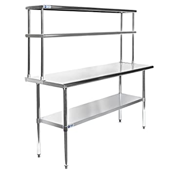 gridmann nsf stainless steel commercial kitchen prep work table plus a 2 tier shelf - Kitchen Prep Table Stainless Steel