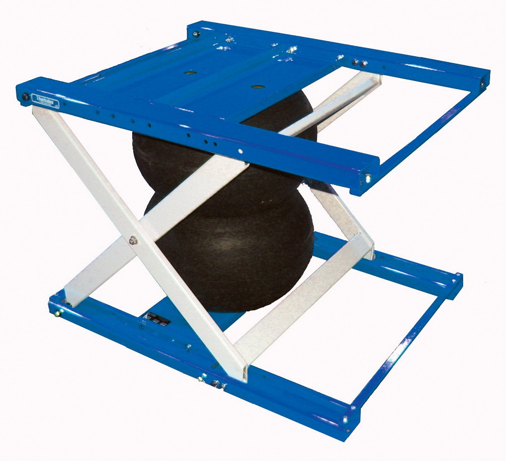 Air Lift Table - BABLT-H Series; Platform Size (Width x Length): 35-1/5'' x 43-3/4''; Capacity (LBS): 2,000; Raised Height: 32''; Lowered Height: 7''; Color: Orange