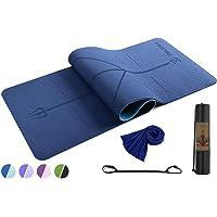 Molenky Yogamat, Eco TPE tweekleurige oefenmat, niet-Sip uitlijning lijnen fitnessmat, een sneldrogende koelhanddoek…