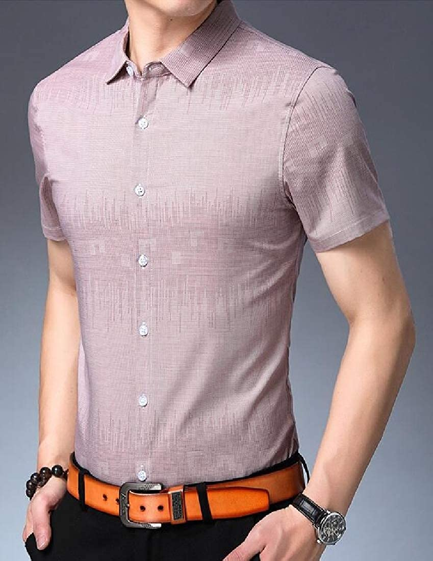 Etecredpow Mens Short Sleeve Lapel Collar Button-Down Top Shirts