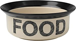 PetRageous 10182 Pooch Basics Stoneware Dog Food Bowl with 4-Cup Capacity 8-Inch Diameter 3.25-Inch Tall for Medium and Large Dogs and Cats, Black and Natural