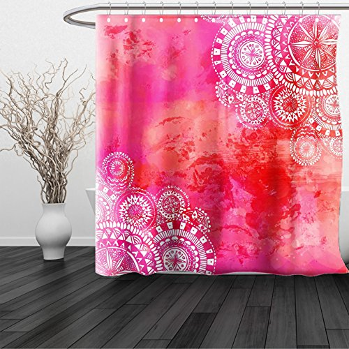 HAIXIA Shower Curtain Mandala Pink Watercolor Paint Background with White Hand Drawn Doodles Asian Motifs Queen Full Pink Coral - Johnson Sunglasses Dwayne