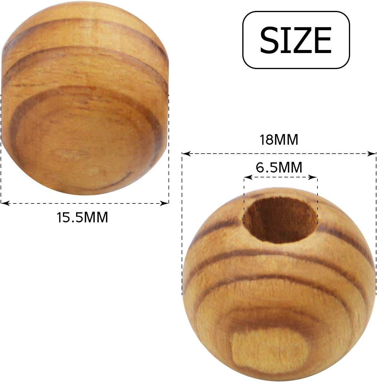 50 Round Wood HOTSELL Spacer Beads 17mm-18mm