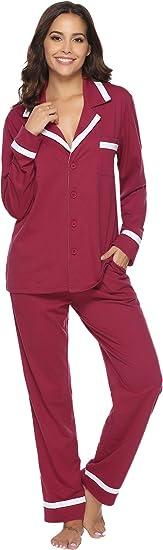 Image of Aibrou Pijama Mujer Invierno Pijamas de Mangas Largas Algodón Pantalones Largo 2 Piezas de Rayas, Cómodo y Transpirable