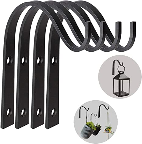 Style 2-4PCS 4 Pcs Heavy Duty Plant Hook Hanging Brackets Black Wall Hanging Hooks for Garden Hanging Basket Stand for Bird Feeders Plants Lanterns Wind Chimes