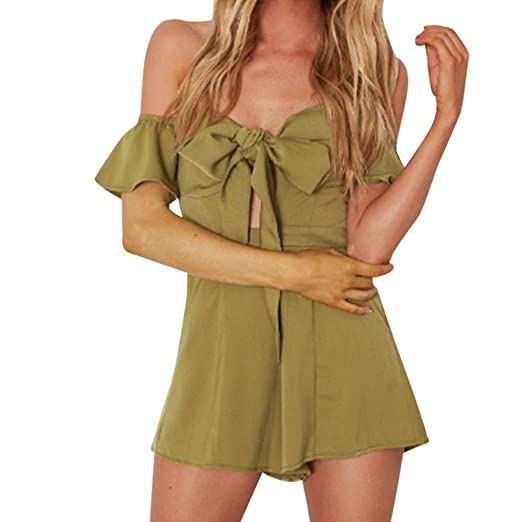 8fde75a1b0 vermers Clearance Sale Women Summer Sexy Jumpsuits Off Shoulder Short  Sleeve Rompers Playsuit(XL