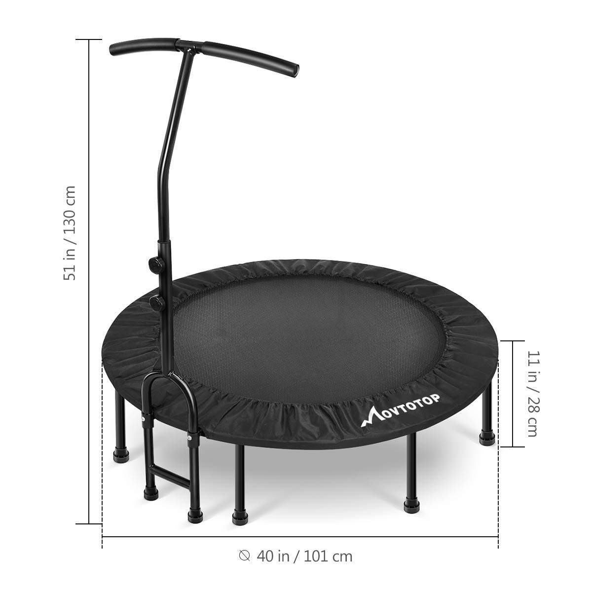 MOVTOTOP 48 40 Inch Indoor Trampoline, Folding Mini Trampoline with Adjustable Handrail and Safety Pad, Exercise Rebounder for Kids Adults-Black (40 Inch-Foldable) by MOVTOTOP (Image #7)