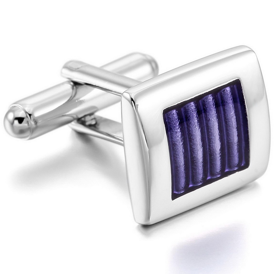 INBLUE Men's 2 PCS Rhodium Plated Enamel Cufflinks Silver Tone Purple Striped Shirt Wedding Business 1 Pair Set INBLUE Jewelry mnv0579