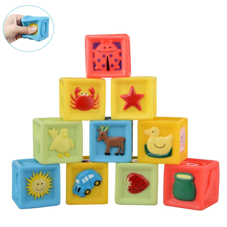 Moobom 10pcs bebé educación temprana juguetes aprieta pila bloque conjunto de juguete de baño para niños