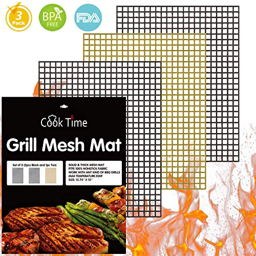 (BBQ Grill Mesh Mat Set of 3 - Non Stick Barbecue Grill Sheet Liners Teflon Grilling Mats Nonstick Fish Vegetable Smoking Accessories - Works on Smoker,Pellet,Gas, Charcoal)
