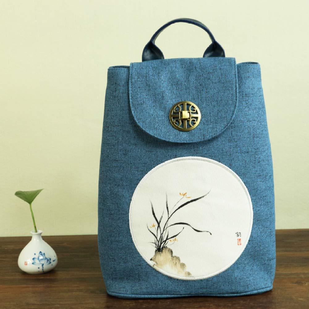 Jiu Bu multifunktion, ryggsäck, bomull, handgjord, konst, kvinnor, etnisk, student, skolväska, B D