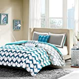 Intelligent Design Finn Comforter Set Twin/Twin XL Bedding Sets - Blue, Geometric – 4 Piece Teen Bed Set – Peach Skin Fabric Bed Comforter