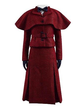 c6c9664aec Amazon.com  Classic Movie Fairy Mary 2 Costume Women Red Herringbone Skirt  Jacket Set  Clothing