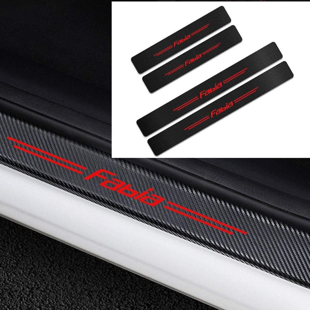 ZHLZH For Skoda Fabia Car Door Sill Protector Strips Carbon Fiber Door Guard Protection Anti Scratch Scuff Sticker