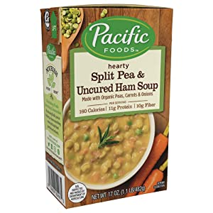 Pacific Foods Organic Soup, Split Pea and Uncured Ham, 17 Ounce (Pack of 12)