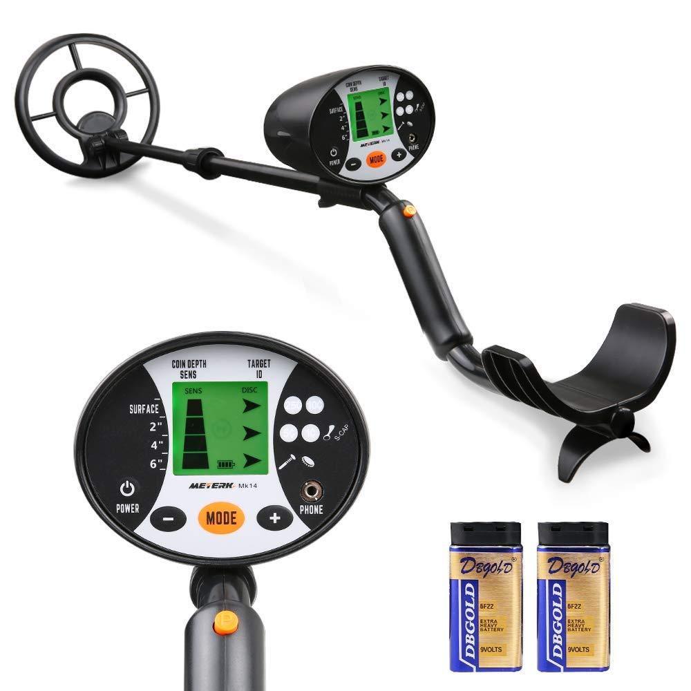 Meterk Detector de Metales subterráneos de Alta precisión, 2 Modo de búsqueda Pantalla LCD Bobina