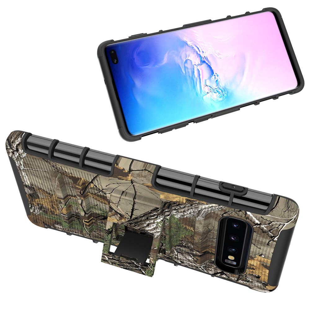 Samsung S10 Plus Case, Shockproof Heavy Duty Rugged Locking Swivel Holster Belt Clip Kickstand Magnetic Full Body Hard Armor Protective Shell Phone Cover Case for Samsung Galaxy S10 Plus