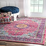 nuLOOM Traditional Persian Vintage Fancy Pink Area Rug (5′ x 7'5) For Sale