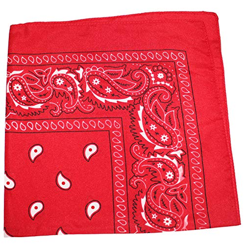 - Pack of 100 Paisley 100% Cotton Bandanas Novelty Headwraps - Bulk Wholesale - 22 inches (Red)