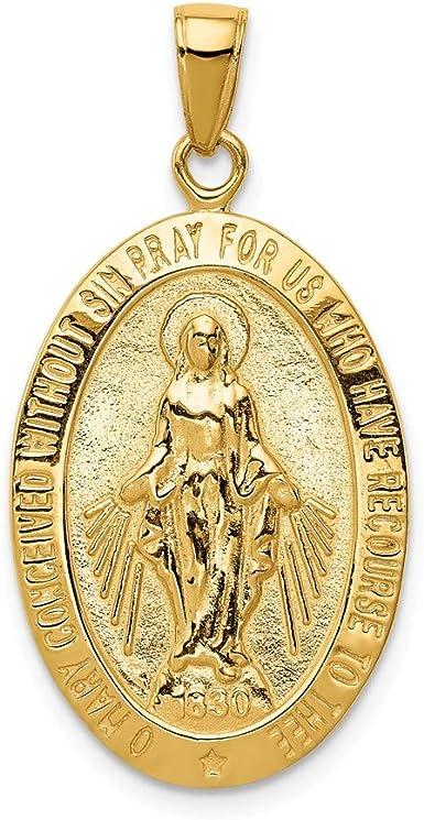 Mia Diamonds 14k Solid Yellow Gold Satin and Diamond-Cut Mary Pendant