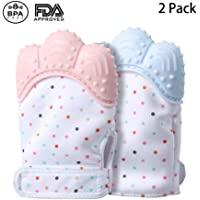 KACOOL Baby Teething Mittens Self Soothing Pain Relief Mitt, Stimulating Teether Toy, for 0-6 Months Baby, Blue and Pink (2)