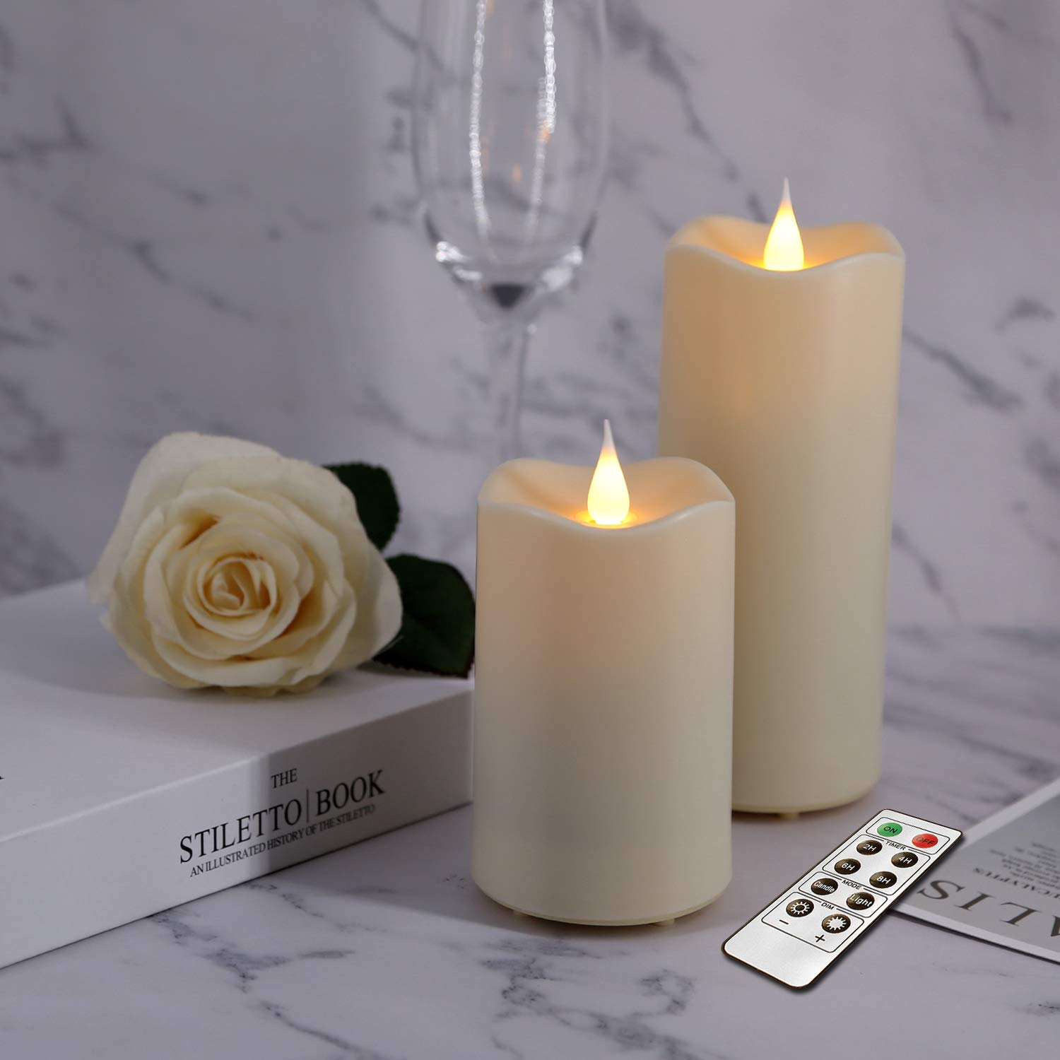 Flameless Waterproof Outdoor Candles, LED Battery Operated Candles Set with Remote Timer 3D Realistic Flickering Flames for Outdoor Home Hotel Restaurant Decoration Ivory 3×4 3×6 inch Set of 2