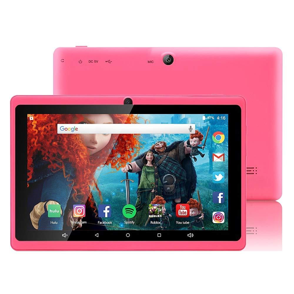 Tablette Enfant 7 Pouces Tablette pour Enfants WiFi Quad Core Kids Tablette Tactile 1/16 Go Disque Android 7.0 avec Logiciel Complet de Divertissement et d'apprentissage et Google Play (Rosa)