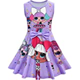 FUNTEKS Little Girls Casual Dress Sleeveless Digital Printing Pageant Gown Party Birthday Dress for Surprised