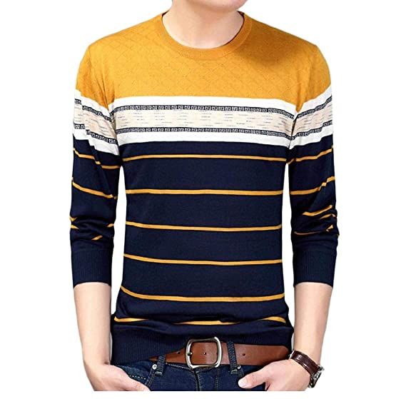 YUNY Mens Ribbing Edge Pullover Jacquard Long Sleeve Sweater L