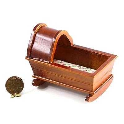 Dollhouse Miniature Cherry Wood Rocking Cradle: Toys & Games
