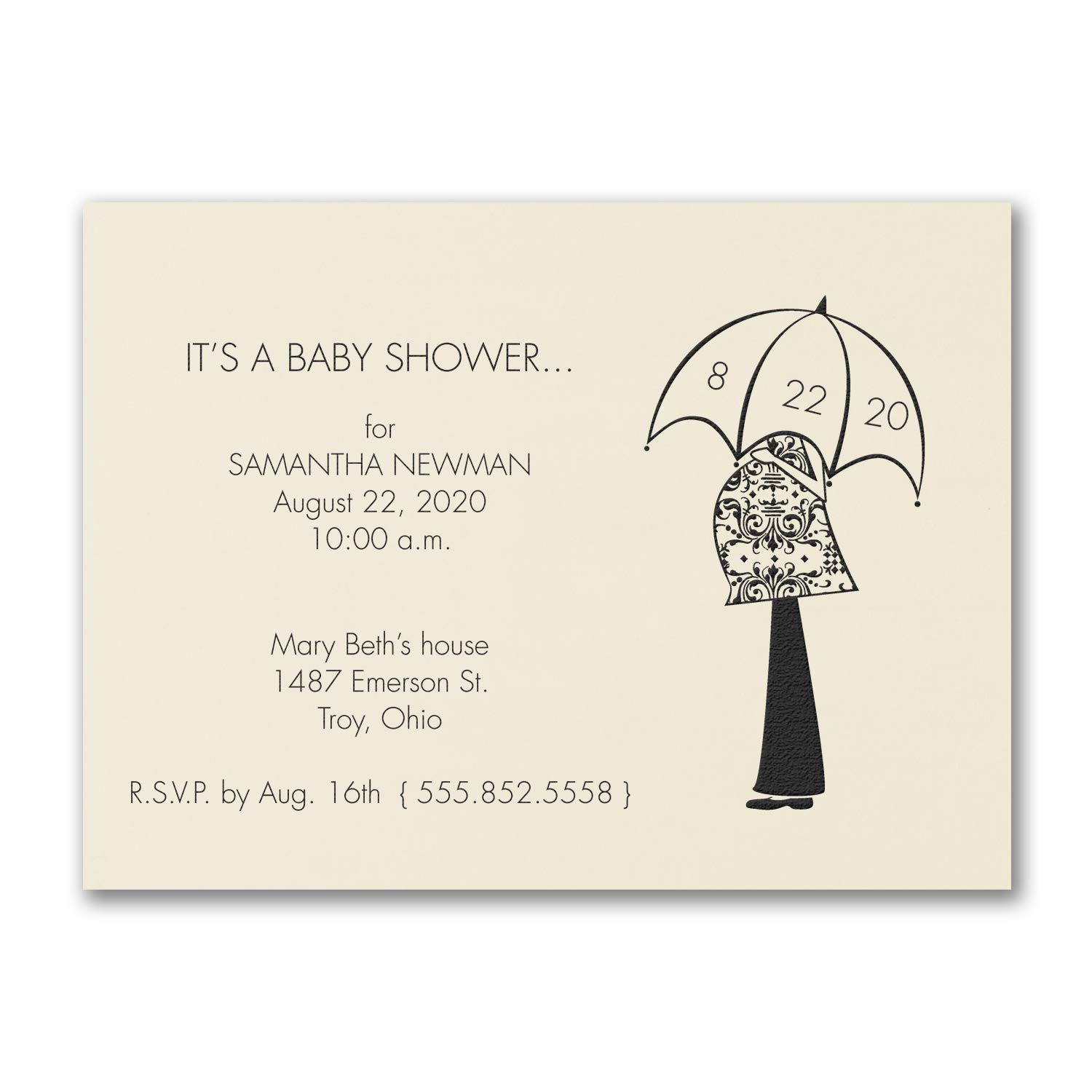 525pk Waiting for the Day - Baby Shower Invitation - Ecru-Baby Shower Invitations