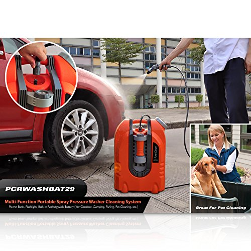 Pure Clean PCRWASHBAT29 portable spray washer W/ Flash Light - Power bank - Carrying Wheels by Pure Clean (Image #8)