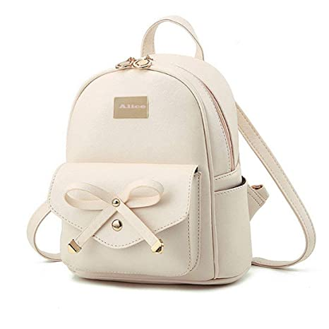 Alice Cute White Mini PU Leather Backpack Fashion Small Daypacks Purse for  Girls and Women  Amazon.in  Bags c6839f943702b