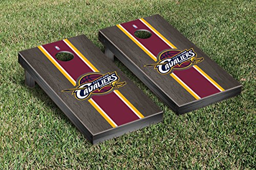 Cleveland Cavaliers NBA Basketball Cornhole Game Set Onyx Stained Stripe Version by Victory Tailgate