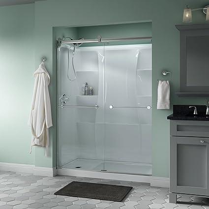 Bathroom Sliding Glass Shower Doors.Delta Shower Doors Sd3172720 Linden 60 X 71 Contemporary Sliding Semi Frameless Shower Door In Nickel With Transition Glass