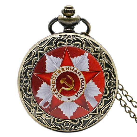 Reloj de Bolsillo para Hombre, diseño de Martillo de mechero soviético Ruso, Color Bronce